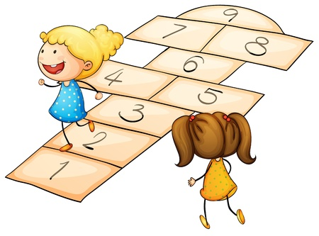 Illustration of kids playing hopscotch Vector