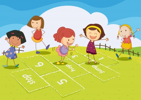 kids playing outside: Illustration of kids playing hopscotch