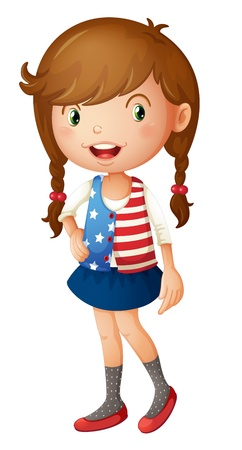 cartoon clothes: Illustration of a cute girl in a vest Illustration