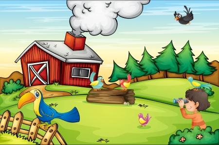kijker: Illustratie van gedetailleerde boerderij scène Stock Illustratie