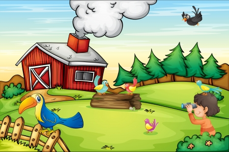 Illustration of detailed farm scene Vector
