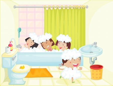 Illustrazione di bambini che hanno un bagno