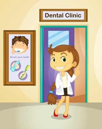 Illustration of a female dentist Vector
