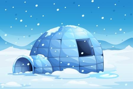 esquimal: Ilustraci�n de un igl� de hielo