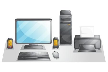 postazione lavoro: Illustrazione di una configurazione del computer