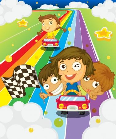 arcoiris caricatura: Ilustración de los niños corriendo en un arco iris Vectores