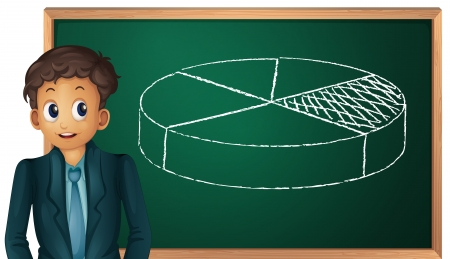Illustration of boy and pie chart Vector