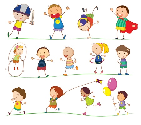 child sport: Illustration of simple kids playing Illustration
