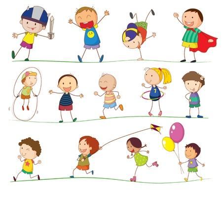 ni�o dibujo animado: Ilustraci�n de los ni�os que juegan simples