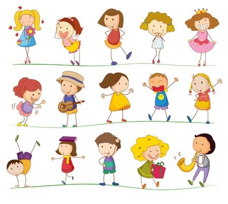ni�os caminando: Ilustraci�n de los ni�os que juegan simples