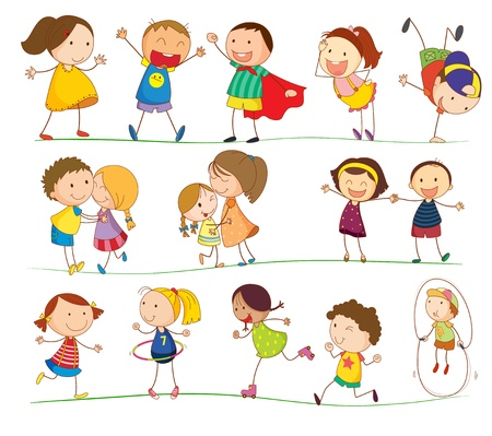 walking stick: Illustration of simple kids playing Illustration
