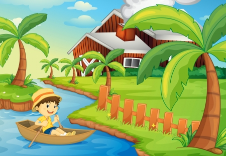 yards: Illustration of a boy in a boat at a farm