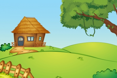 rural houses: Illustration of a house on a hill