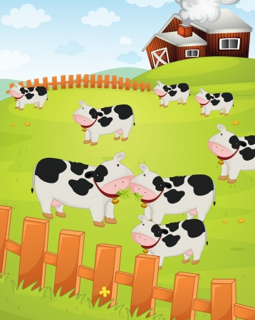 cow bells: Illustration of cows on a farm Illustration
