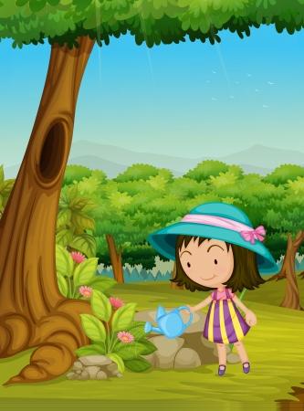 regar las plantas: Ilustración de una niña Vectores