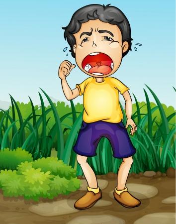 Illustratie van een jongen huilen in een tuin Vector Illustratie