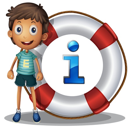 point i: Illustration of boy and information icon