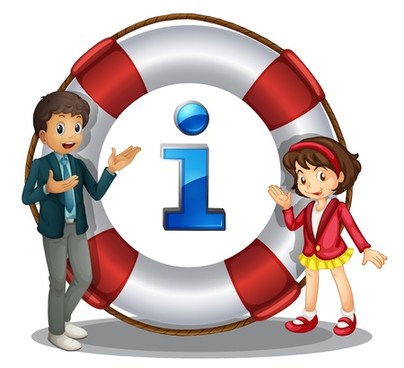 float tube: Illustration of boy and girl information