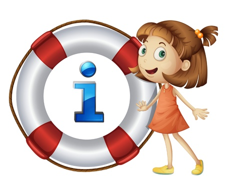 point i: Illustration of girl and information icon