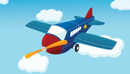 Illustration of a plane in the air Vector