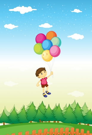 floating: Illustration of a boy floating with balloons Illustration