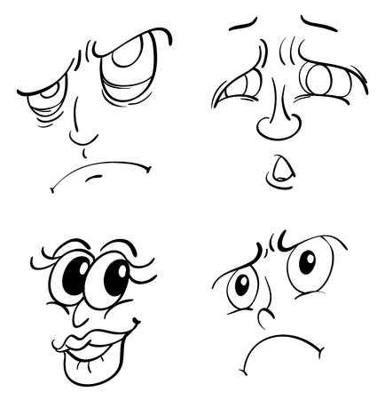 funy: Illustration of funy faces on white