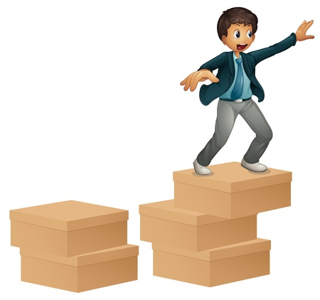 happy business man: Illustration of a boy on boxes
