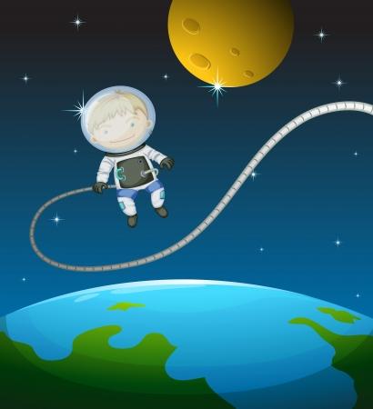zon en maan: Illustratie van een jonge astronaut