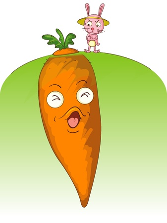 top animated: Illustration of rabbit with big carrot Illustration