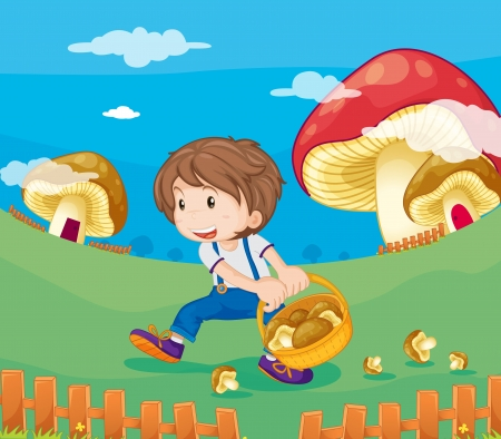 man in field: Illustration of a boy with mushrooms