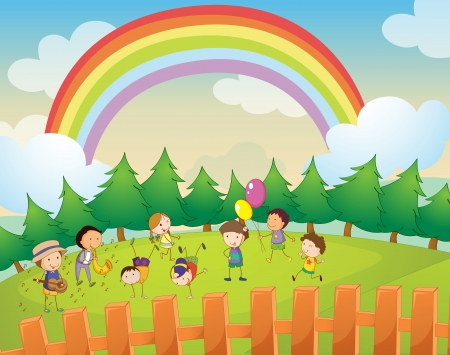 pasture fence: Illustration of kids playing in the park