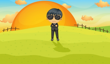 Illustration of a bodyguard in a field Vector