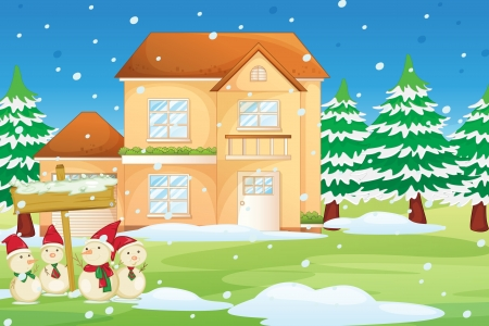 winter vacation: Illustration of a house at christmas time