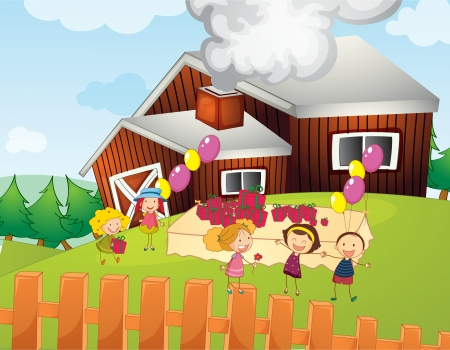 barn girls: Illustration of kids having a party on a farm Illustration