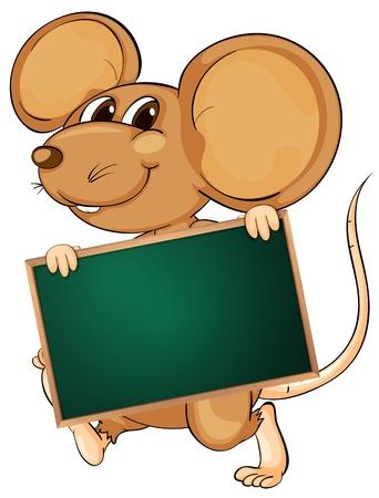 rata caricatura: Ilustraci�n de un personaje de dibujos animados la celebraci�n de un tablero en blanco Vectores