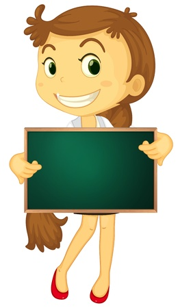 people holding sign: Illustration of a cartoon character holding a blank board