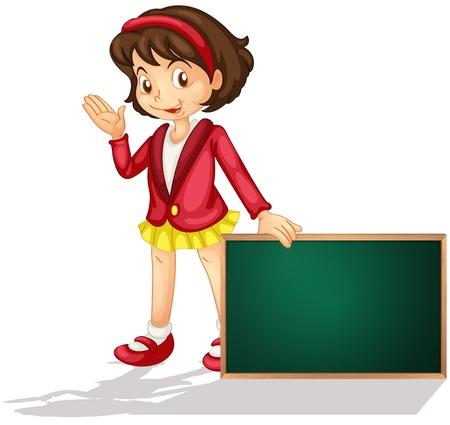 ni�os sosteniendo un cartel: Ilustraci�n de un personaje de dibujos animados la celebraci�n de un tablero en blanco Vectores