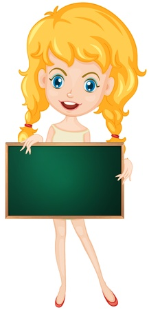 Illustration of a cartoon character holding a blank board Stock Vector - 13988502