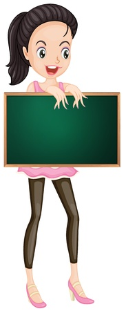 Illustration of a cartoon character holding a blank board Stock Vector - 13988508