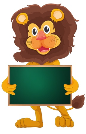 animal: Illustration of a cartoon character holding a blank board