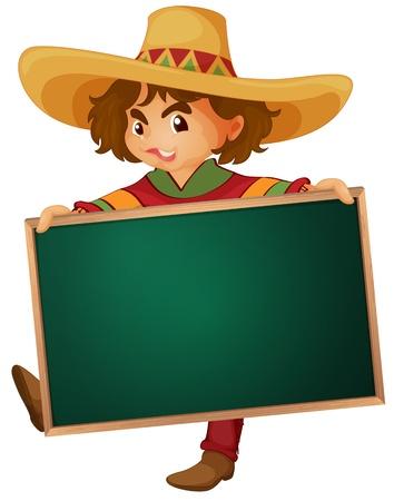 mexico cartoon: Illustration of a cartoon character holding a blank board