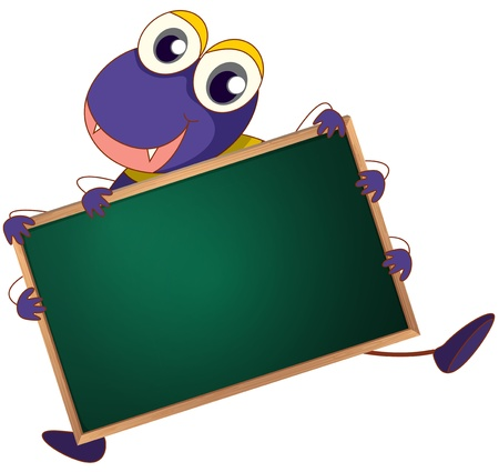wood spider: Illustration of a cartoon character holding a blank board
