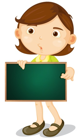 child holding sign: Illustration of a cartoon character holding a blank board