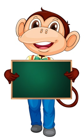 Illustration of a cartoon character holding a blank  Vector