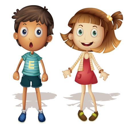 shocked: Illustration of a young girl and boy
