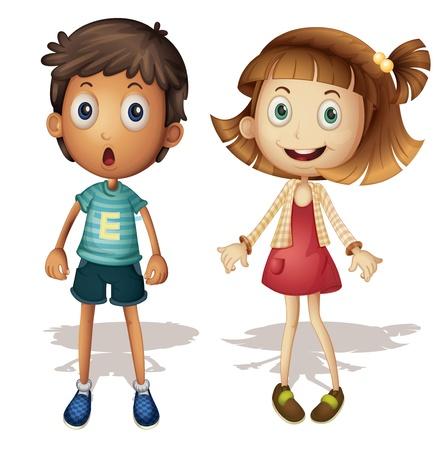 scared child: Ilustraci�n de una ni�a y un ni�o Vectores