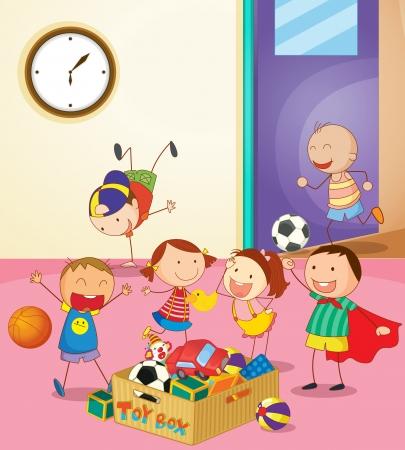 playroom: Ilustraci�n de los ni�os jugando juntos