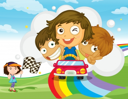 Illustration of kids racing on a rainbow Stock Vector - 13988517