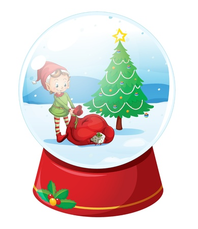 paperweight: Illustration of a christmas snow globe