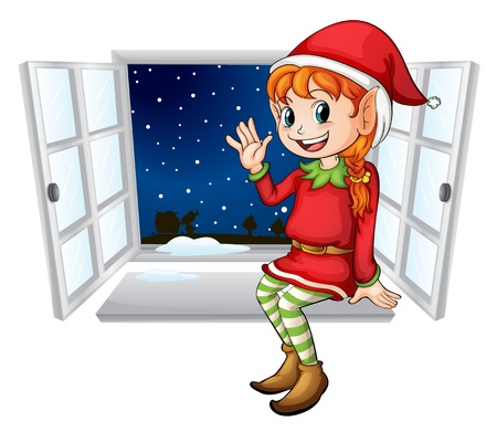 Illustration of an elf in a window Vector